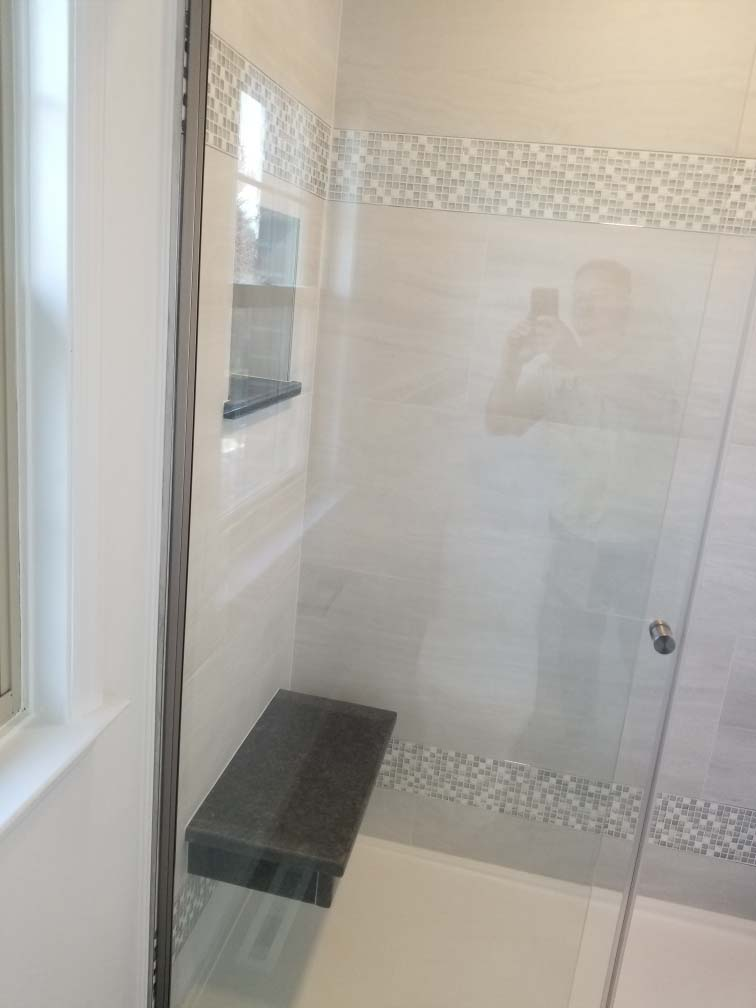 shower and seat from Bathroom remodel completed in Reading PA by L&L Services.