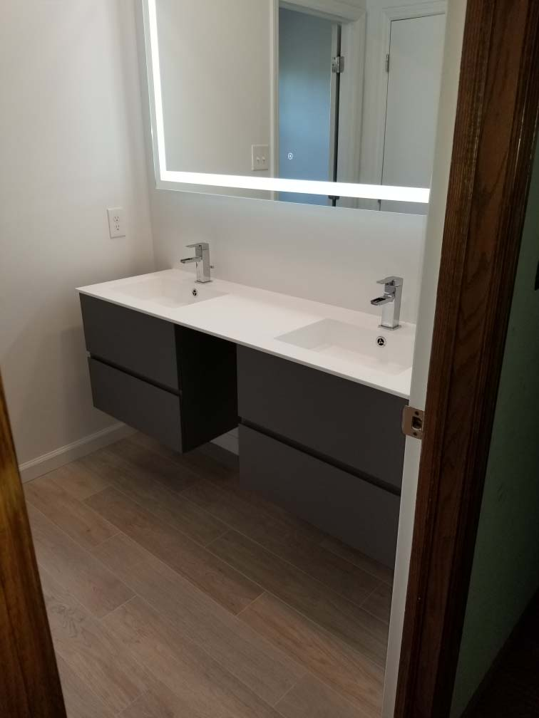 sinks from Bathroom remodel completed in Reading PA by L&L Services.
